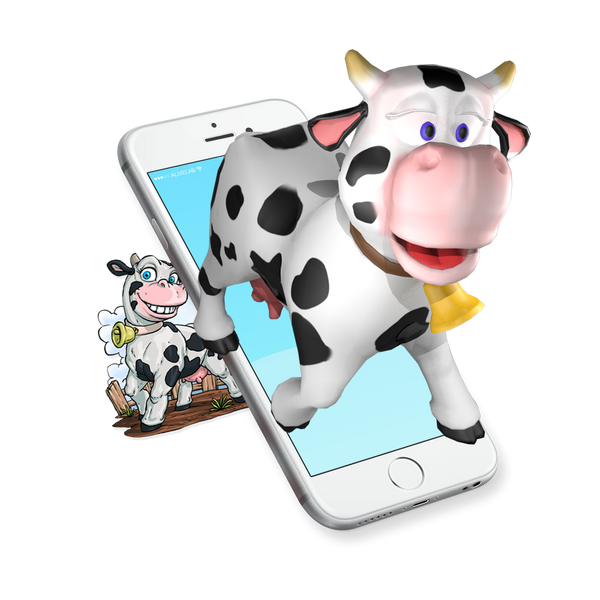 augmented reality cow sticker