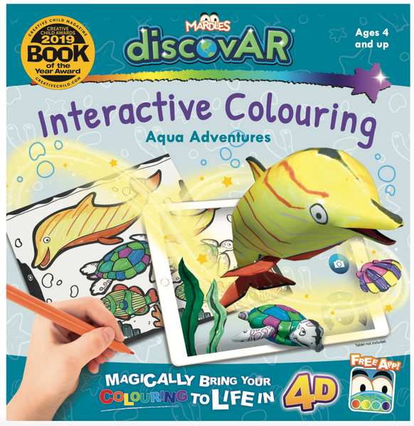 Complete set of 4 Mardles discovAR 4D Interactive Colouring Books