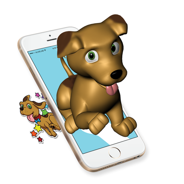 augmented reality dog sticker