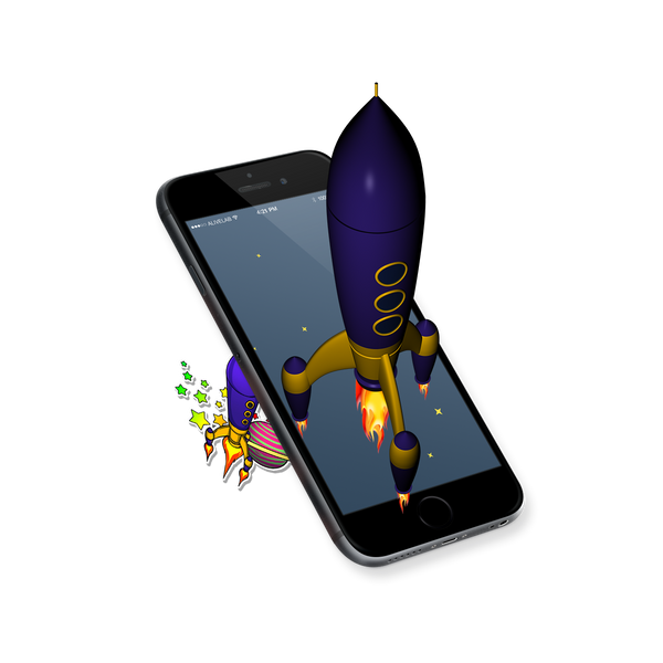 augmented reality rocket sticker