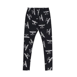 BOY LONDON Leggings S-M / BLACK/WHITE BOY REPEAT LEGGINGS