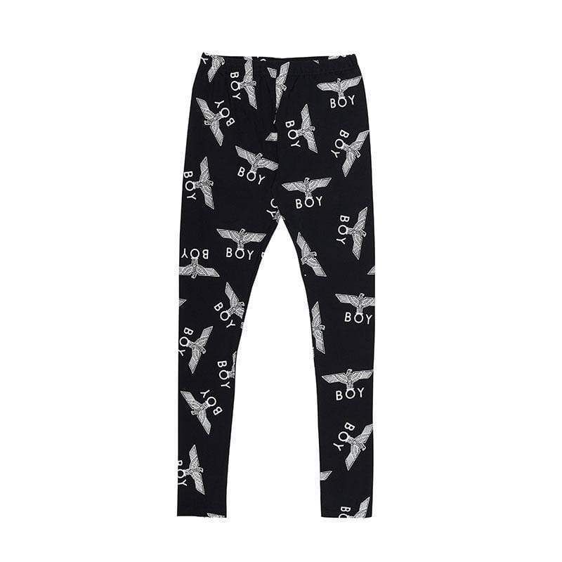 BOY LONDON Leggings S-M / BLACK/SILVER BOY REPEAT LEGGINGS