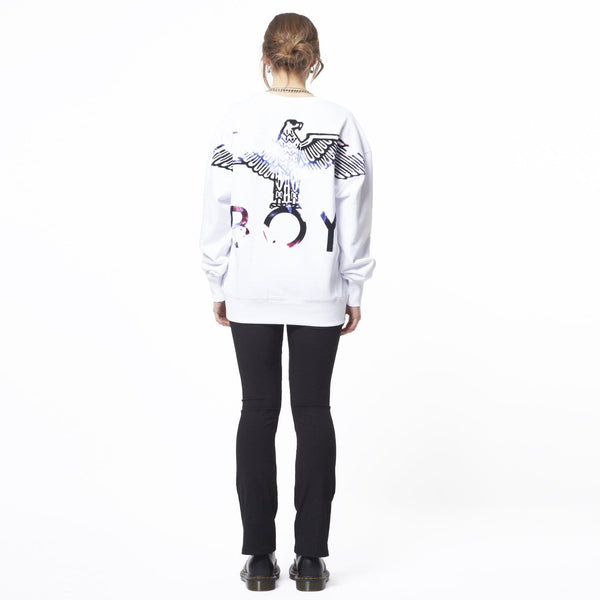 BOY LONDON SWEATSHIRT BOY EAGLE FLOCK SWEAT - WHITE