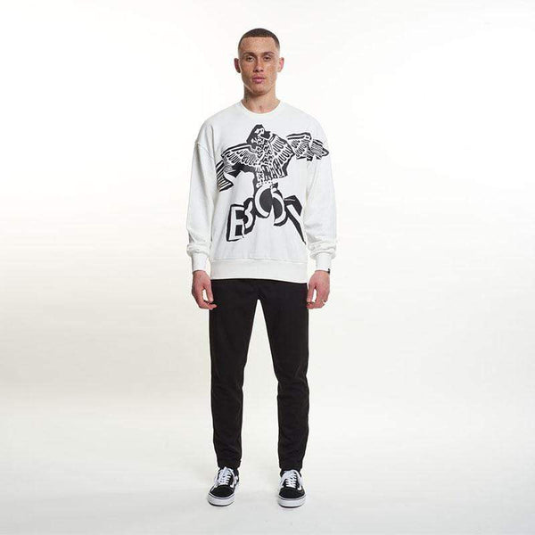 BOY London SWEATSHIRT BOY EAGLE LINEAR SWEAT - OFF WHITE/BLACK