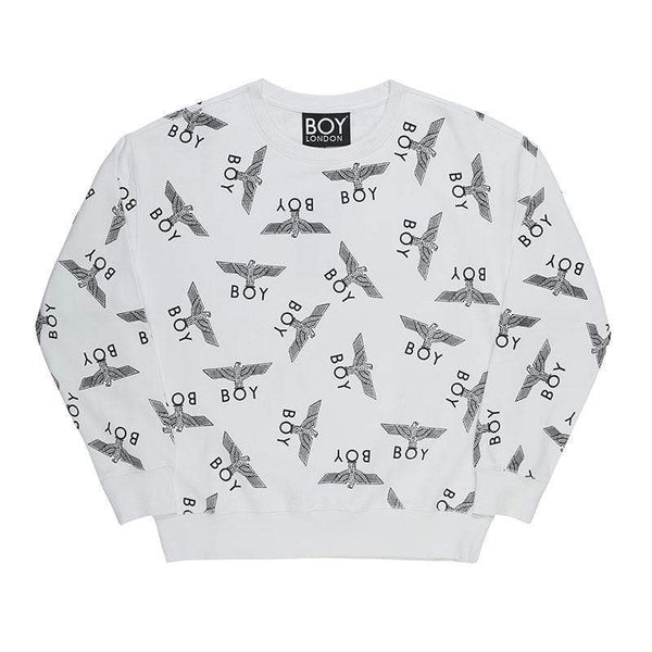 BOY LONDON SWEATSHIRT XS / WHITE/BLACK BOY REPEAT SWEATSHIRT - WHITE/BLACK