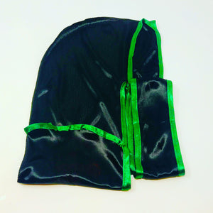 Rimix *PATENT PENDING* Silky Durag **Limited Edition - Black/Green Trim