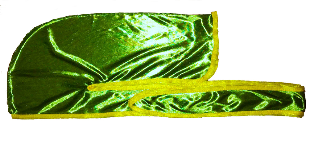 Rimix *PATENT PENDING* Silky Durag **Limited Edition - Green/Yellow Trim (