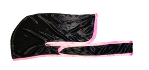 Rimix *PATENT PENDING* Silky Durag **Limited Edition - Black/Pink Trim