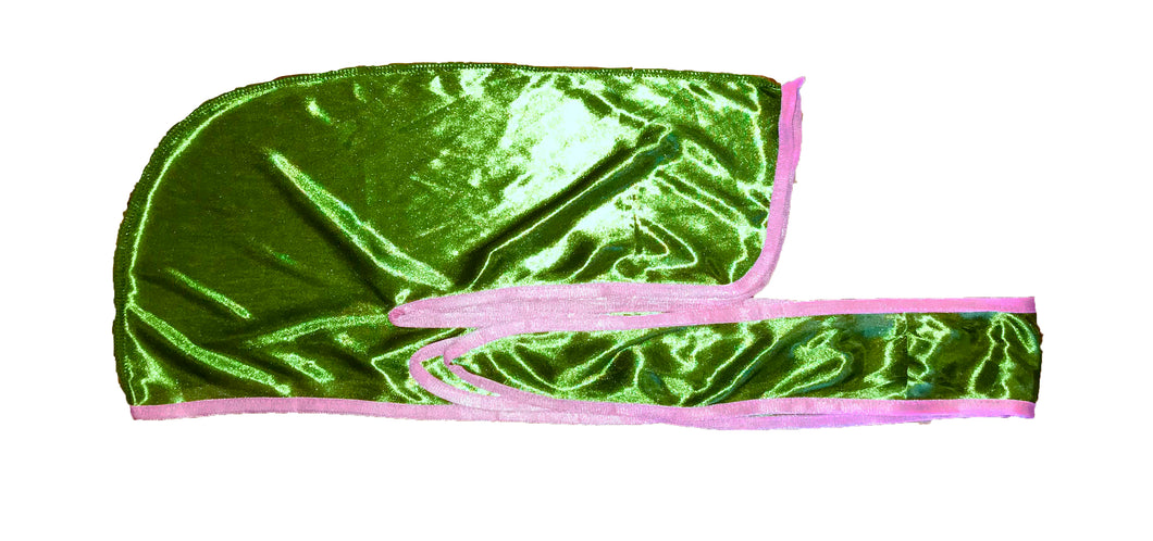 Rimix *PATENT PENDING* Silky Durag **Limited Edition - Green/Pink Trim