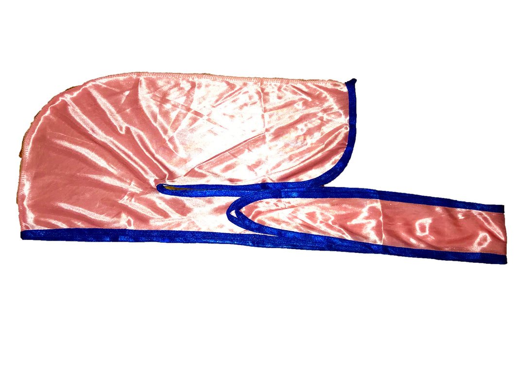 Rimix *PATENT PENDING* Silky Durag **Limited Edition - Pink/Royal Blue Trim