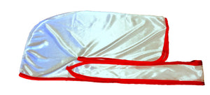 Rimix *PATENT PENDING* Silky Durag **Limited Edition - White/Red Trim