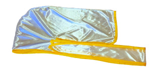 Rimix *PATENT PENDING* Silky Durag **Limited Edition - White/Yellow Trim