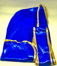 Load image into Gallery viewer, Rimix *PATENT PENDING* Silky Exclusive Platinum Edition Durag (4k Limited Edition) - Blue/Gold (Chun Li)