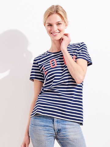 SUNDRY: LOVE STRIPE SHORT SLEEVE TEE