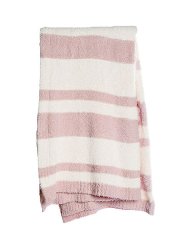 Barefoot Dreams Cozychic® Baja Blanket / Dusty Rose-Cream