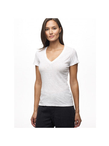 James Perse Sheer Slub Casual Vneck / White