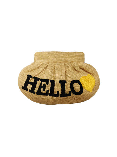 MOYNA Hello Clutch Jute Bag