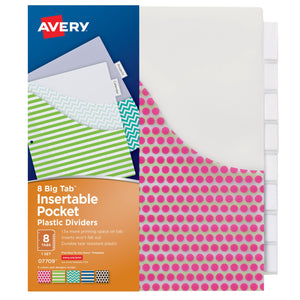 (3 Pk) Avery Big Tab 8 Tab Pocket Insertable Plastic Dividers Set