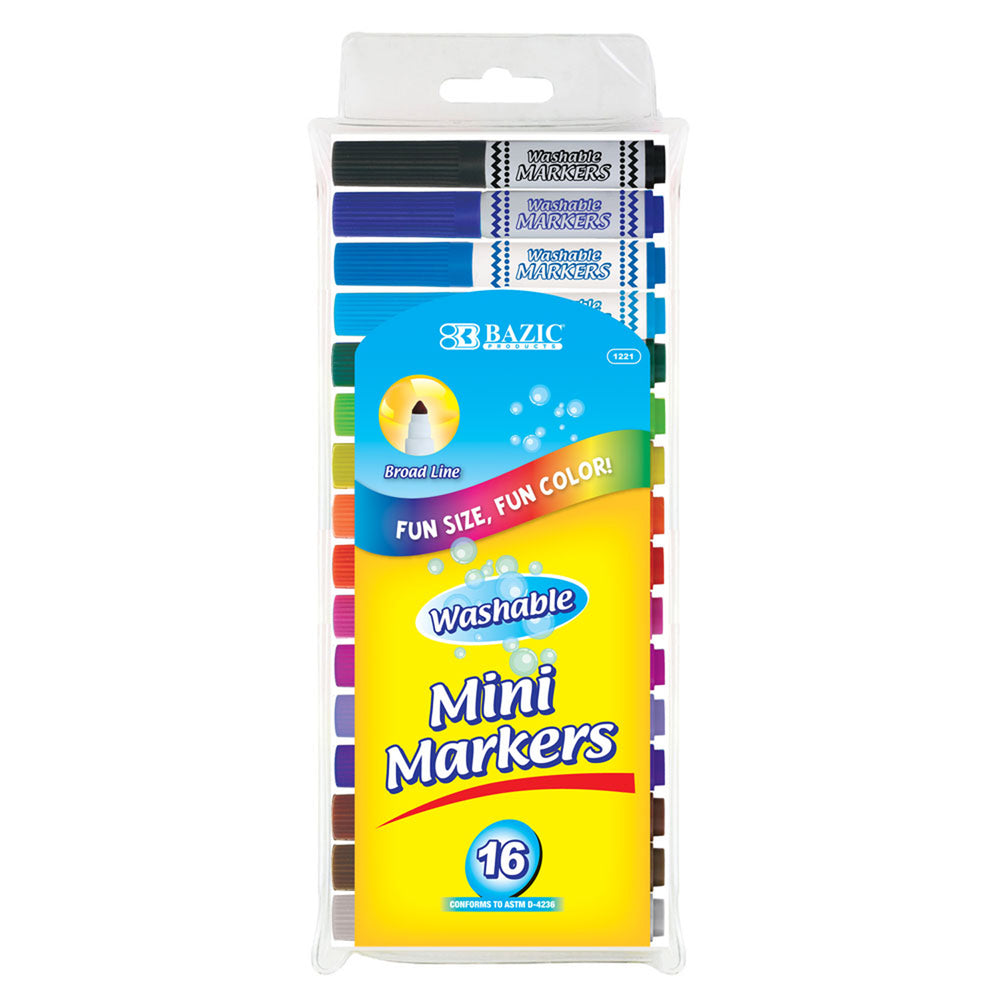 (6 Pk) Washable Markers Mini 16 Colors Broad Line