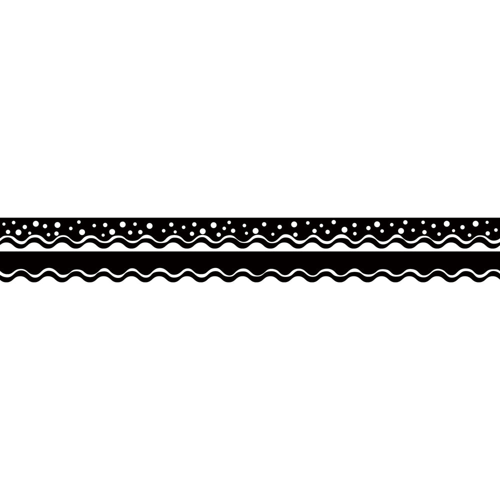 Happy Black Border Double-sided Scalloped Edge