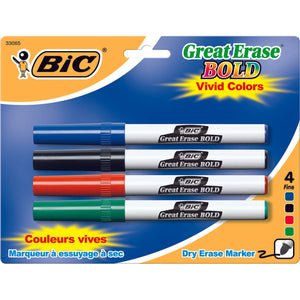 (6 Pk) Bic Great Erase Dry Erase Fine Point Markers 4 Per Pk