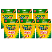 (6 Bx) Crayons Jumbo 8ct Per Box Peggable Tuck
