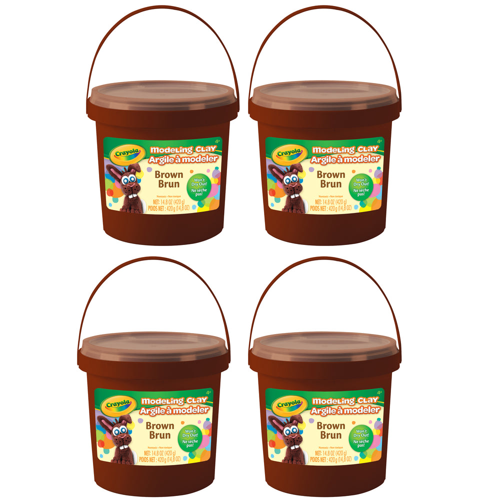 (4 Ea) 1 Lb Bucket Modeling Clay Brown