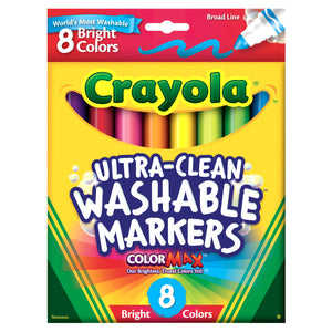 (6 Bx) Crayola Washable 8ct Per Bx Bright Colors Conical Tip
