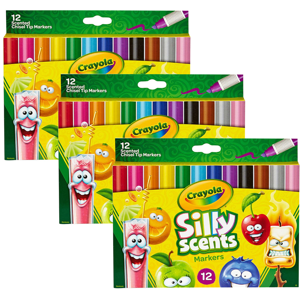 (3 Pk) Crayola Silly Scent 12per Pk Chisel Tip Washable Marker