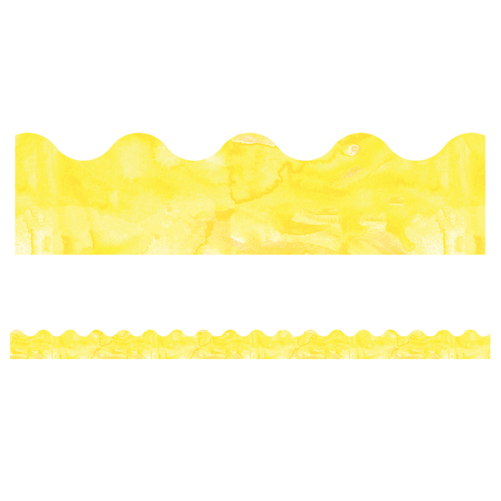 (6 Pk) Watercolor Yellow Scalloped Borders Celebrate Learning
