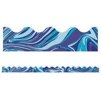 (6 Pk) Blue Marble Scalloped Borders