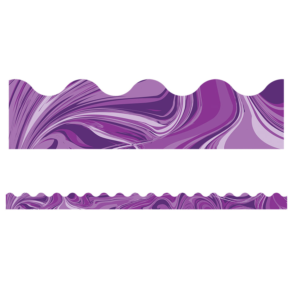 (6 Pk) Purple Marble Scalloped Borders