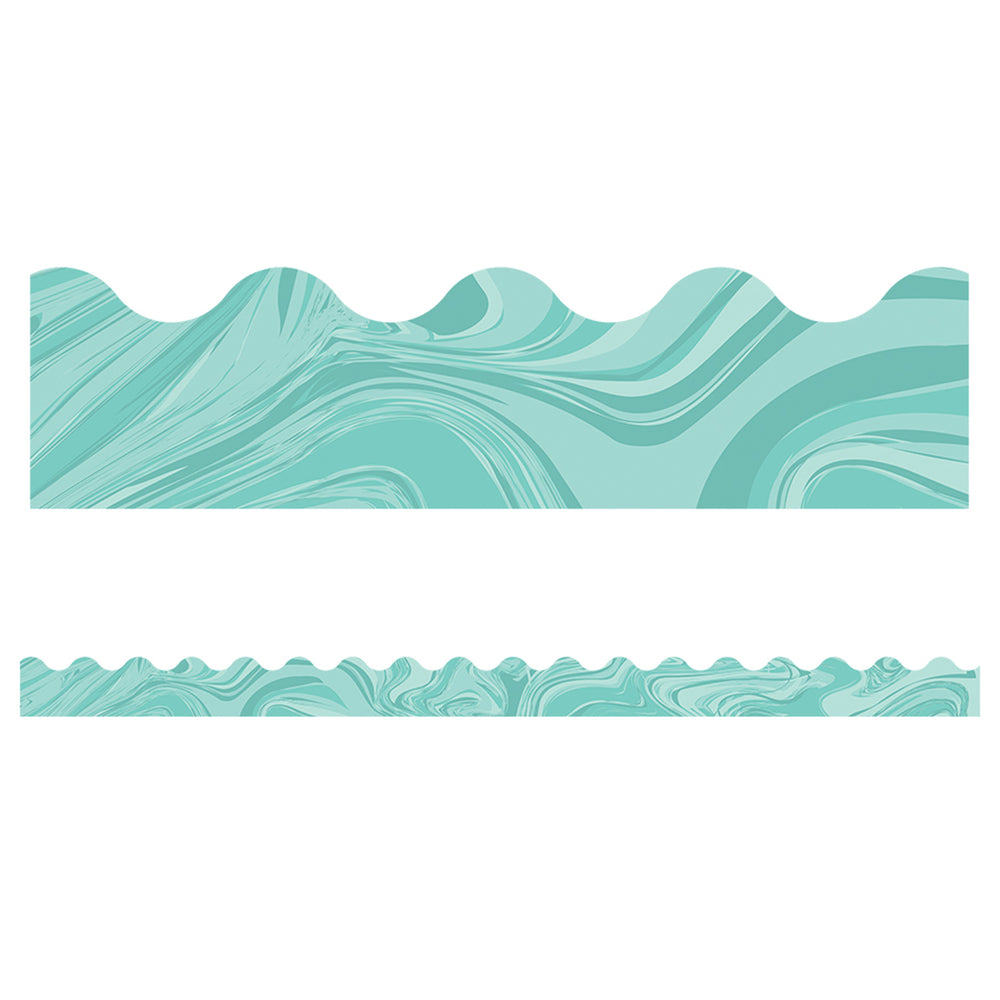 (6 Pk) Teal Marble Scalloped Borders