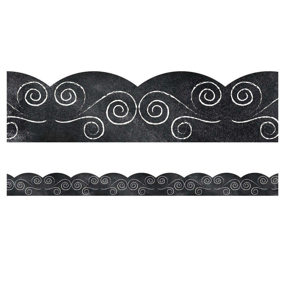 (6 Pk) Swirls On Chalkboard Scallpd Bordrs Industrial Cafe