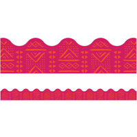 (6 Pk) Pink Batik Scalloped Borders One World
