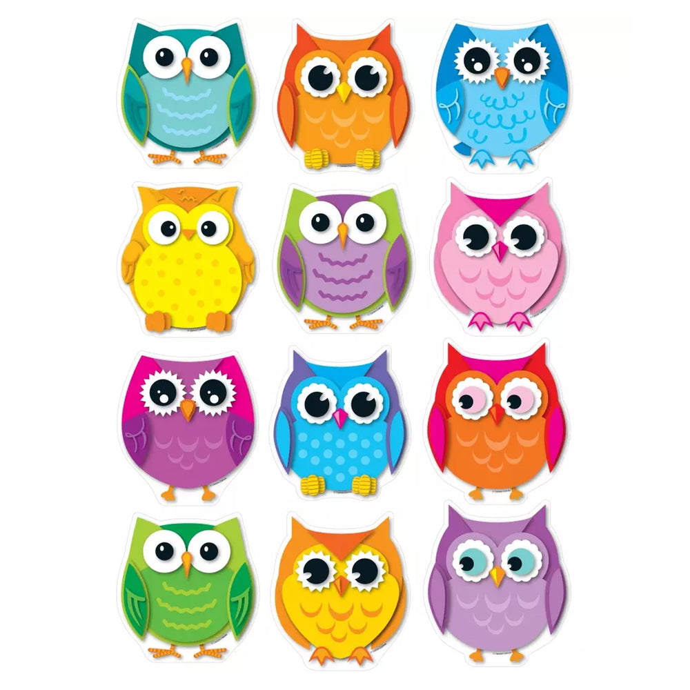 (3 Pk) Colorful Owls Cut Outs 36 Per Pk
