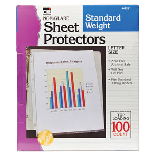 Sheet Protectors Non Glare 100 Box