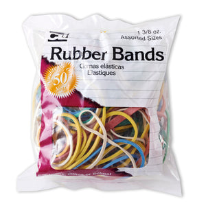 (12 Pk) Rubber Bands Asst Colors 1 3-8oz Bag