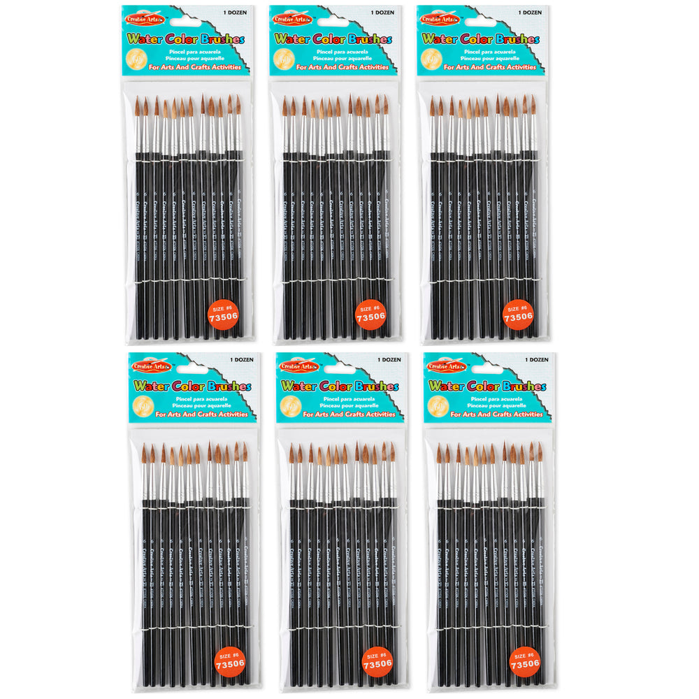 (6 Pk) Paint Brushes Pointed #6 11-16 Camel Hair 12 Per Pack