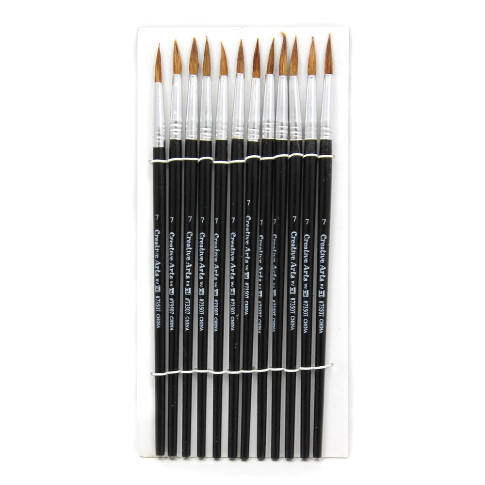 (6 Pk) Brushes Water Color Pointed #7 3-4in Camel Hair 12 Per Set