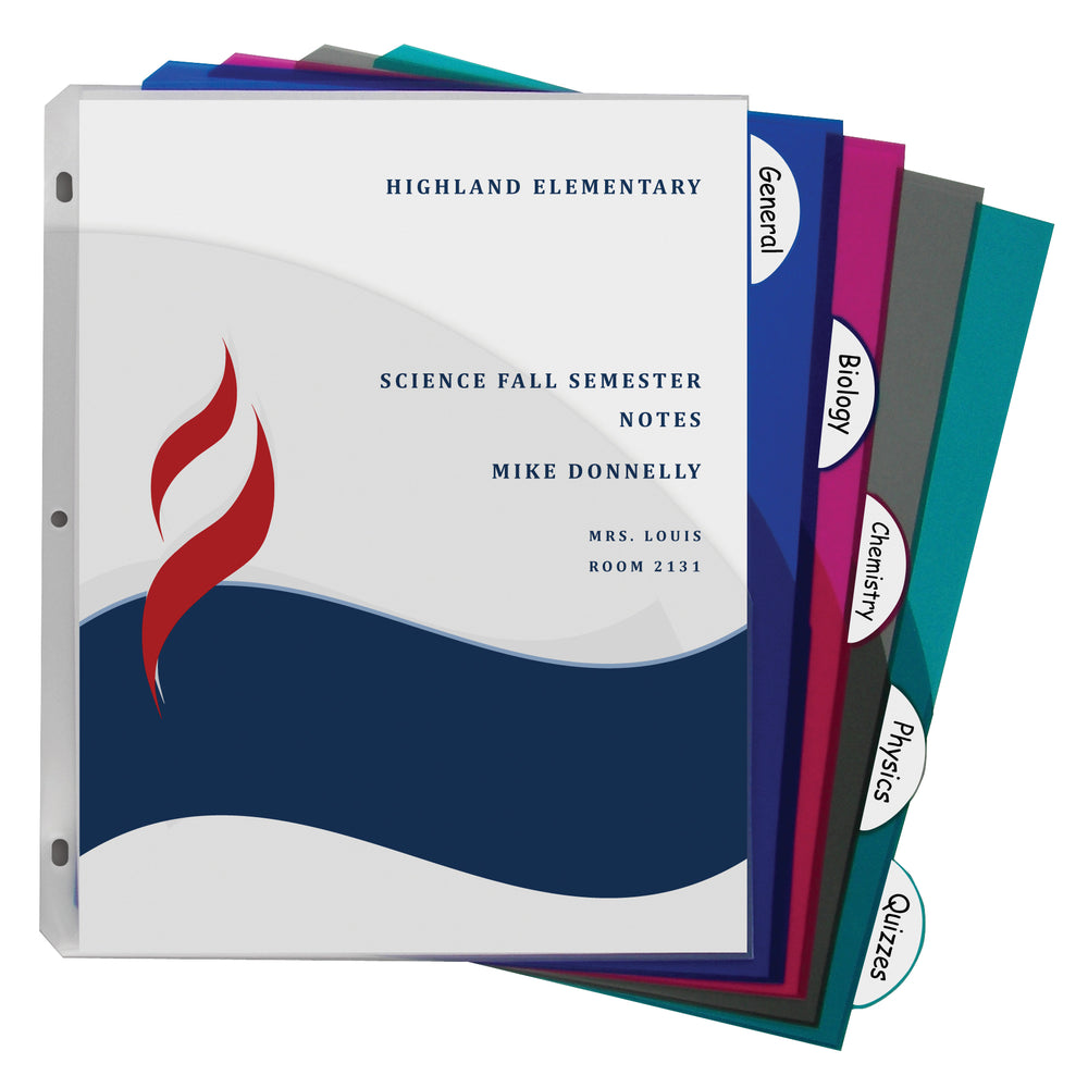 5 Tab Poly Index Dividers With Slant Pocket Assorted 5 Stand Tab