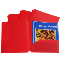 C-line Red 25ct Two Pocket Poly Portfolios With Three-hole Punch