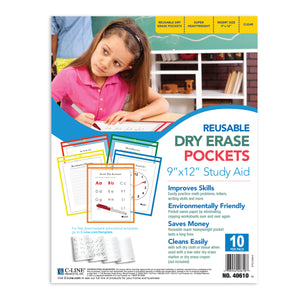 C Line Reusable 10pk 9x12 Dry Erase Pockets Assorted Primary