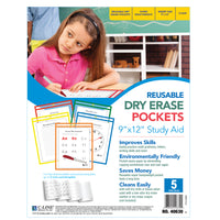 Reusable Dry Erase Pockets 5-box Assorted Primary 9 X 12