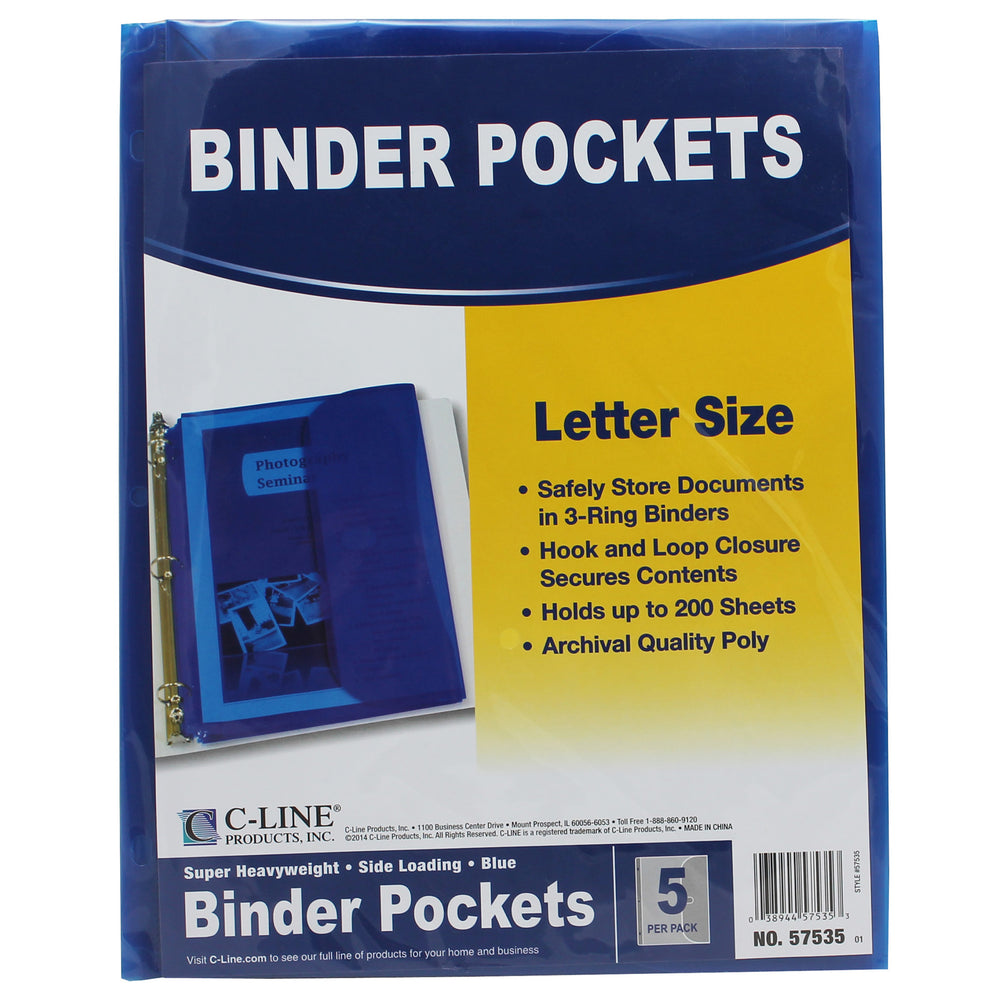 (5 Pk) C-line Binder Pocket W- Hook & Loop Closure Blue 5 Per Pk
