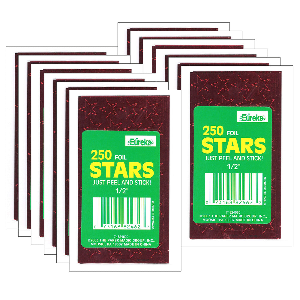(12 Pk) Stickers Foil Stars .5in Red 250 Per Pk