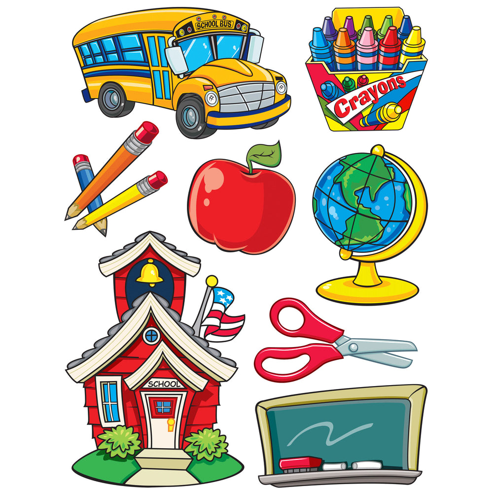 (12 Pk) More School Supplies 12x17 Window Clings