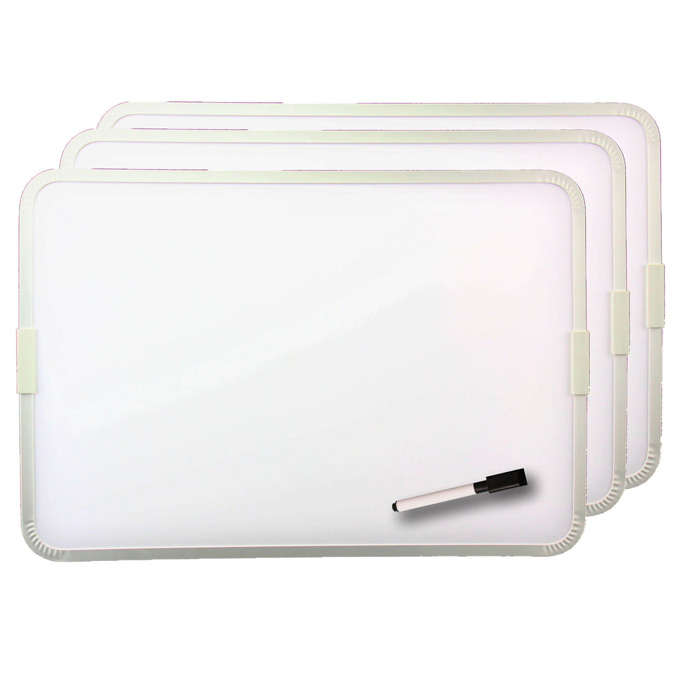 (3 Ea) 2 Sided Magnetic Dry Erase Board Framed W- Pen And Cap Eraser