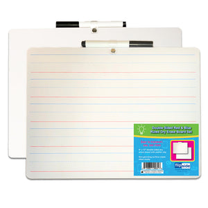 2 Sided Dry Erase W- Marker 12pk Red & Blue Ruled 9x12