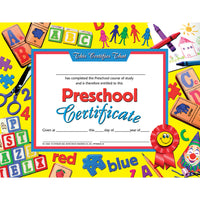 (6 Pk) Preschool Certificate Ylw Background 30 Per Pk